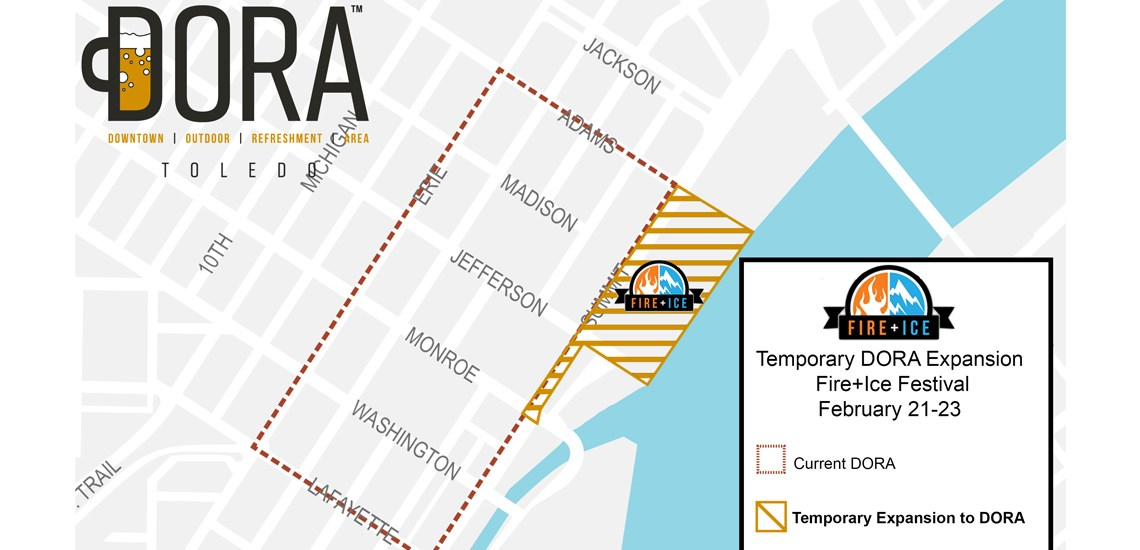Temporary Downtown Toledo DORA expansion for Fire + Ice Festival